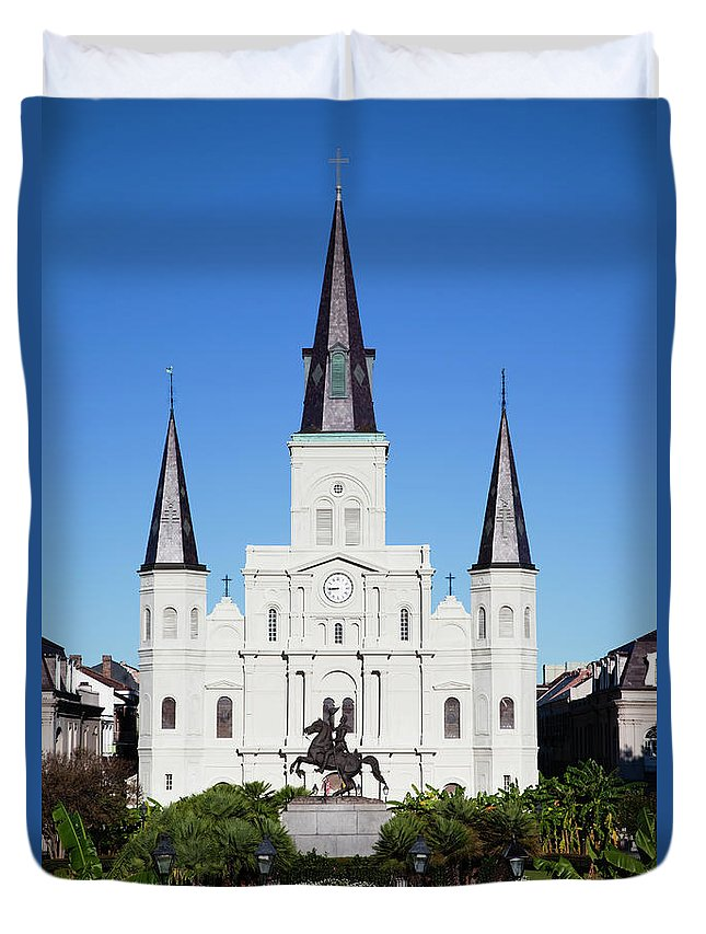 Art Duvet Cover featuring the photograph French Quarter, St. Louis Cathedral by Walter Bibikow