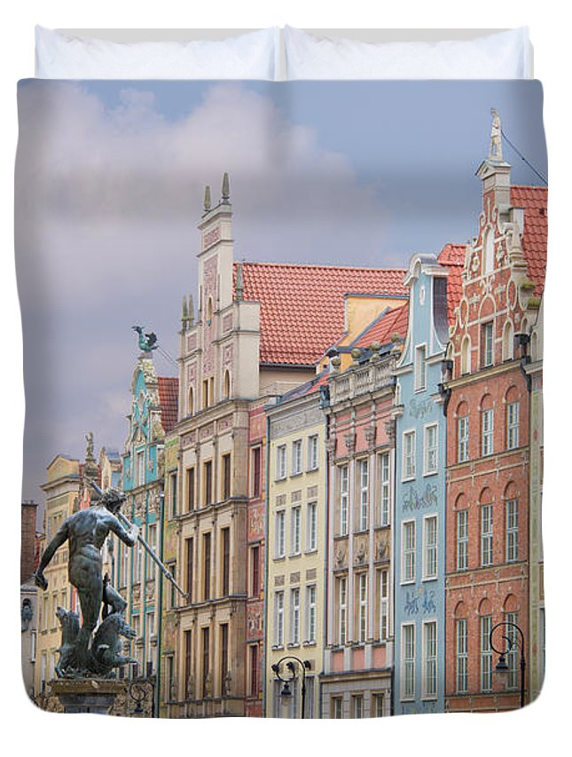Architecture Duvet Cover featuring the photograph Gdansk, Poland by Juli Scalzi