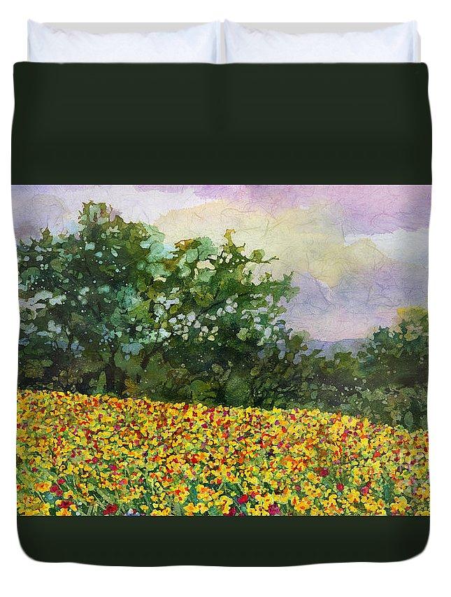 Bluebonnet Duvet Cover featuring the painting Golden Hillside by Hailey E Herrera