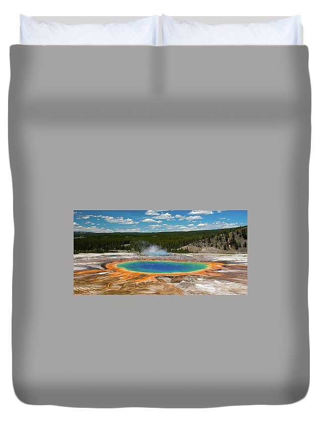 Panoramic Duvet Cover featuring the photograph Grand Prismatic Spring by By Sathish Jothikumar