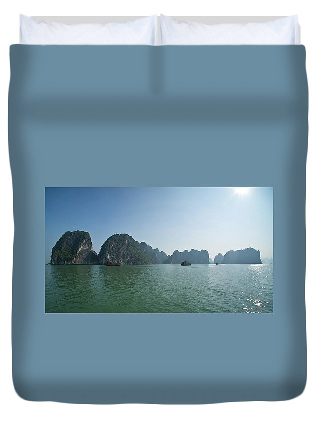 Scenics Duvet Cover featuring the photograph Ha Long Bay by By Thomas Gasienica