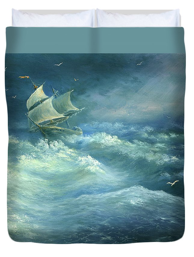 Curve Duvet Cover featuring the digital art Heavy Gale by Pobytov