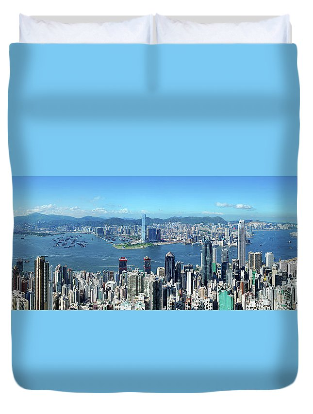 Corporate Business Duvet Cover featuring the photograph Hong Kong Victoria Harbor At Day by Samxmeg