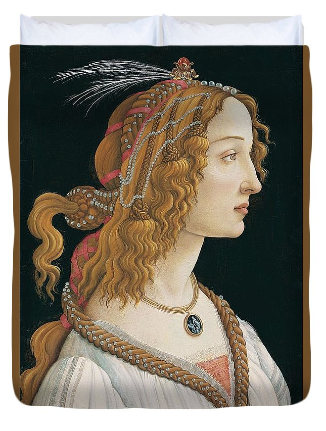 Sandro Botticelli Duvet Cover featuring the painting Portrait Of A Young Woman, Portrait Of Simonetta Vespucci As Nymph by Sandro Botticelli