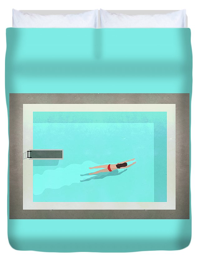 Recreational Pursuit Duvet Cover featuring the digital art Illustration Of Woman Swimming In Pool by Malte Mueller
