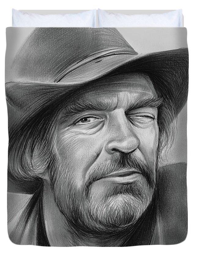 Jack Elam Duvet Cover featuring the drawing Jack Elam by Greg Joens