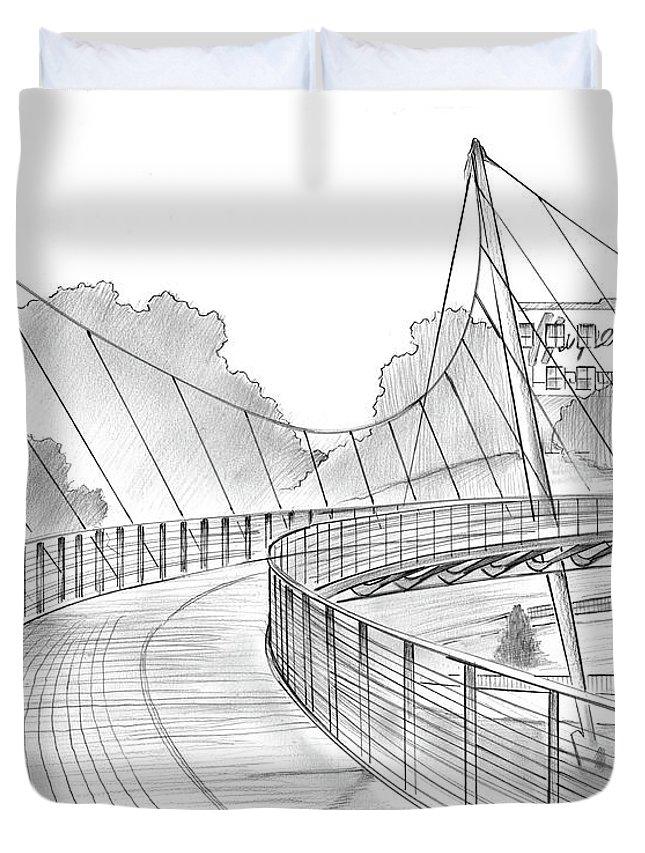 Liberty Bridge Duvet Cover featuring the drawing Liberty Bridge by Greg Joens