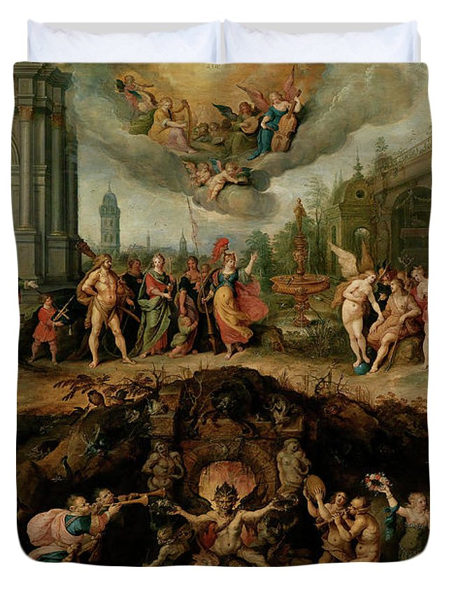 Frans Francken The Younger Duvet Cover featuring the painting Mankind's Eternal Dilemma, The Choice Between Virtue And Vice by Frans Francken the Younger