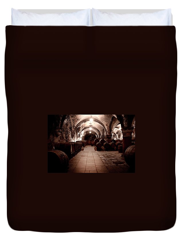 Arch Duvet Cover featuring the photograph Medieval Wine Cellar by Ollo