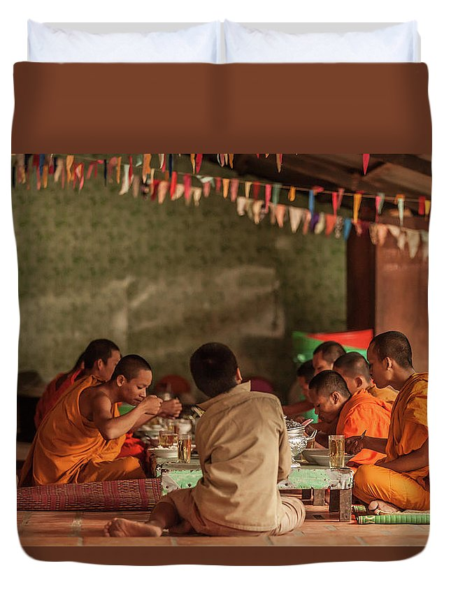 Young Men Duvet Cover featuring the photograph Monks At Breakfast, Wat Monastery by Cultura Rm Exclusive/gary Latham
