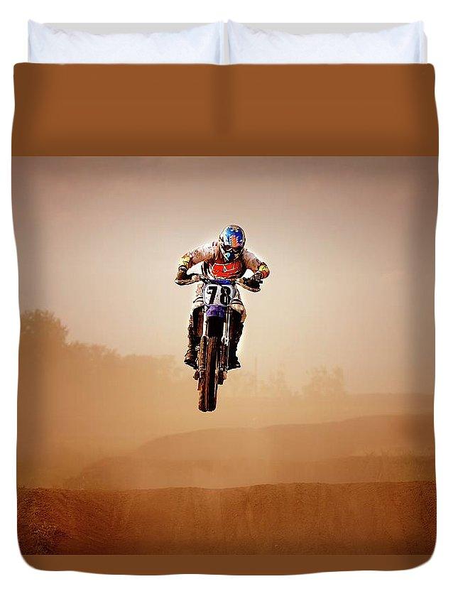 Crash Helmet Duvet Cover featuring the photograph Motocross Rider by Design Pics