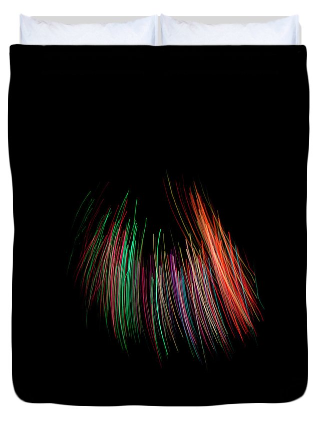 Black Background Duvet Cover featuring the photograph Multi Colored Fiber Optic On Black by Michael Duva