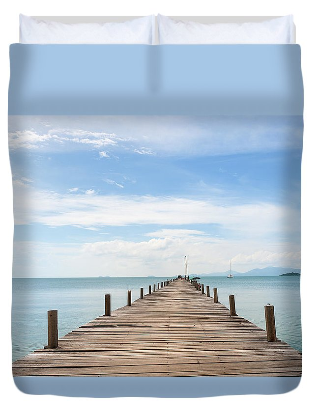 Scenics Duvet Cover featuring the photograph Pier On Koh Samui Island In Thailand by Pidjoe