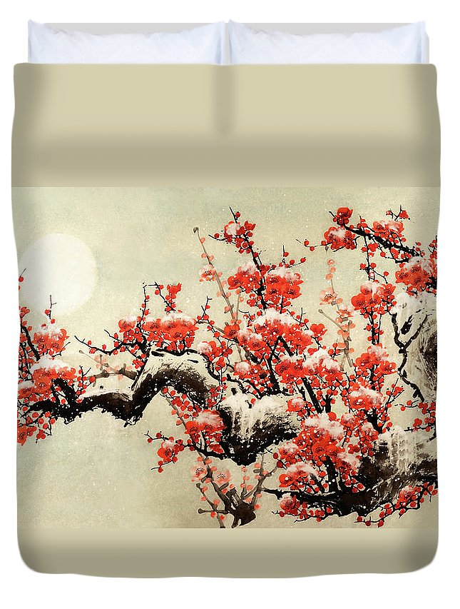 Chinese Culture Duvet Cover featuring the digital art Plum Blossom by Vii-photo