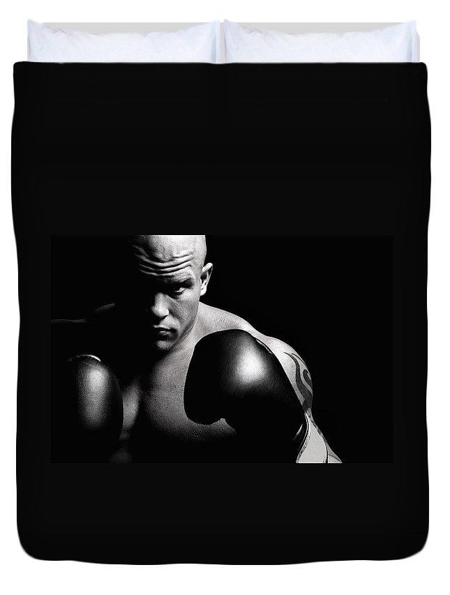 Toughness Duvet Cover featuring the photograph Powerful Fighter Portrait by Vuk8691