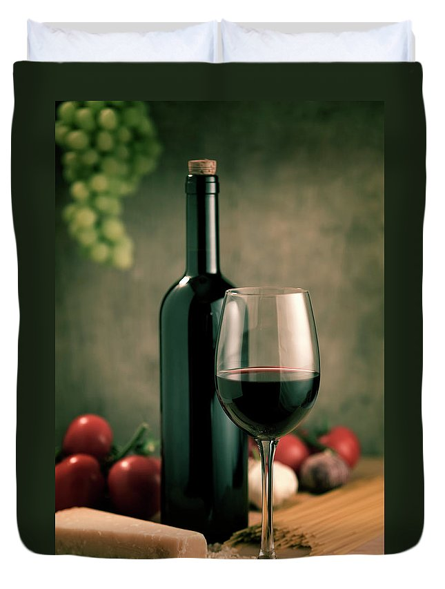 Cheese Duvet Cover featuring the photograph Red Wine And Food, Italian Style by Kontrast-fotodesign