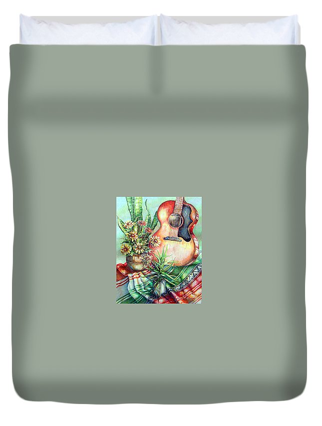 Gibson Guitar Duvet Cover featuring the painting Room For Guitar by Linda Shackelford