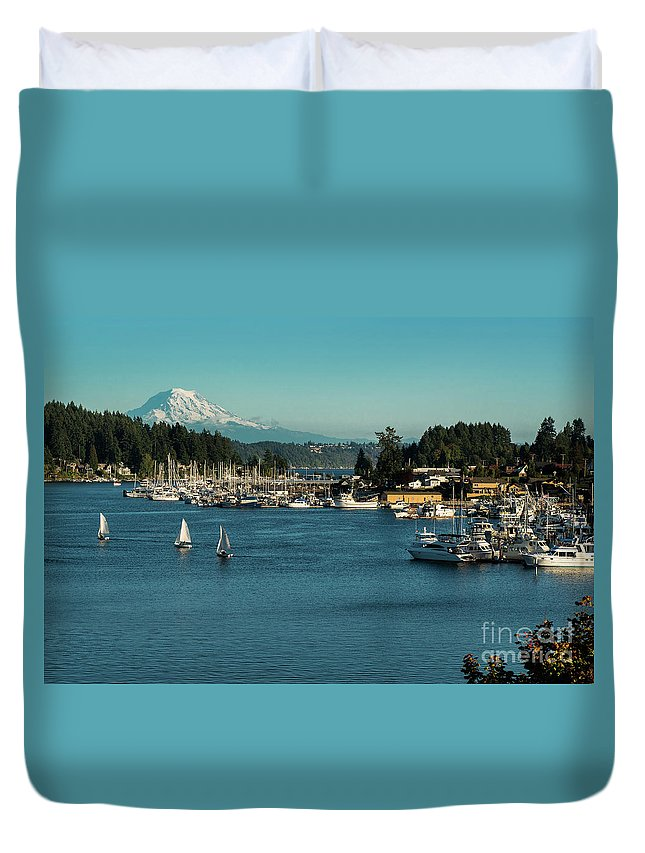 Sailboats At Gig Harbor Marina With Mount Rainier In The Background Duvet Cover featuring the photograph Sailboats At Gig Harbor Marina With Mount Rainier In The Background by Yefim Bam