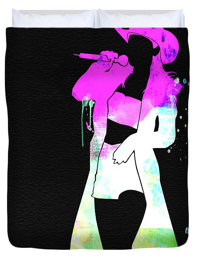 Shania Twain Duvet Cover featuring the mixed media Shania Watercolor by Naxart Studio
