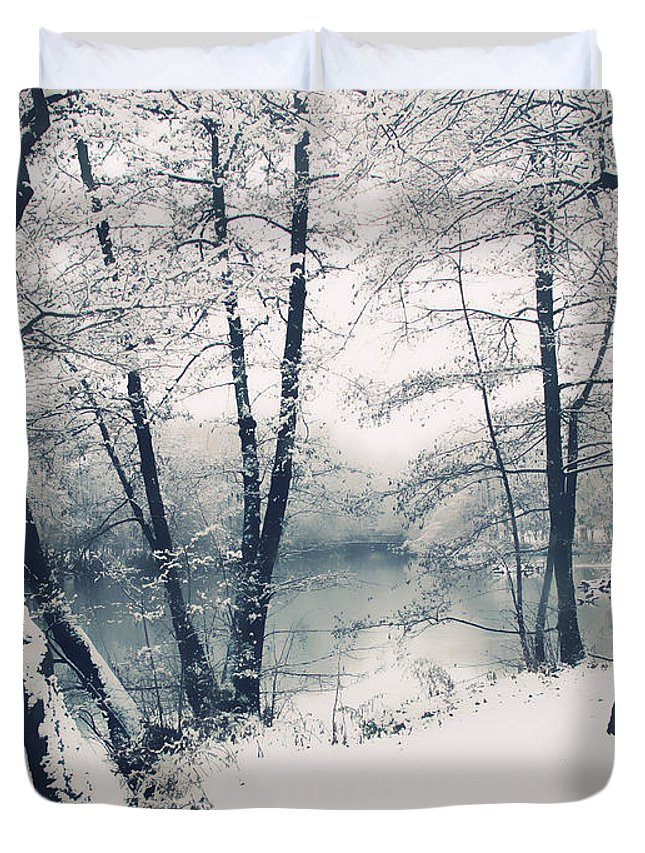 Landscape Duvet Cover featuring the photograph Snow Pond by Jessica Jenney