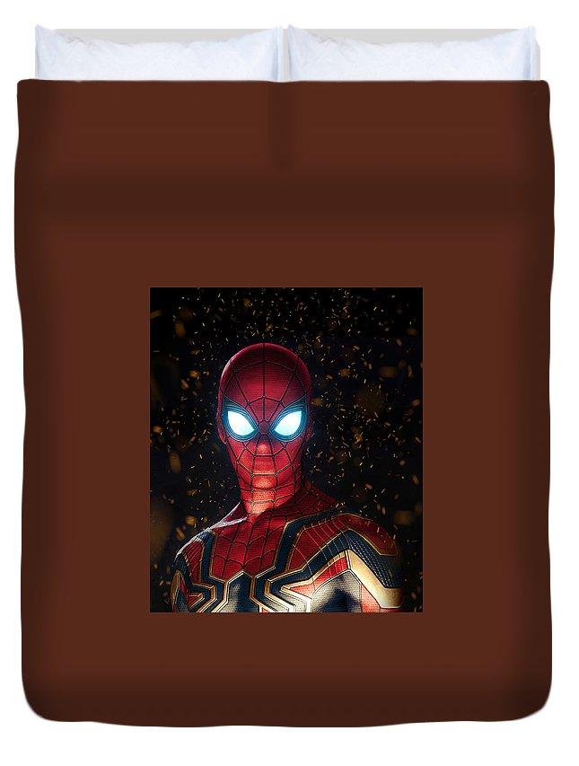 Spiderman Duvet Cover featuring the digital art Spiderman by Geek N Rock