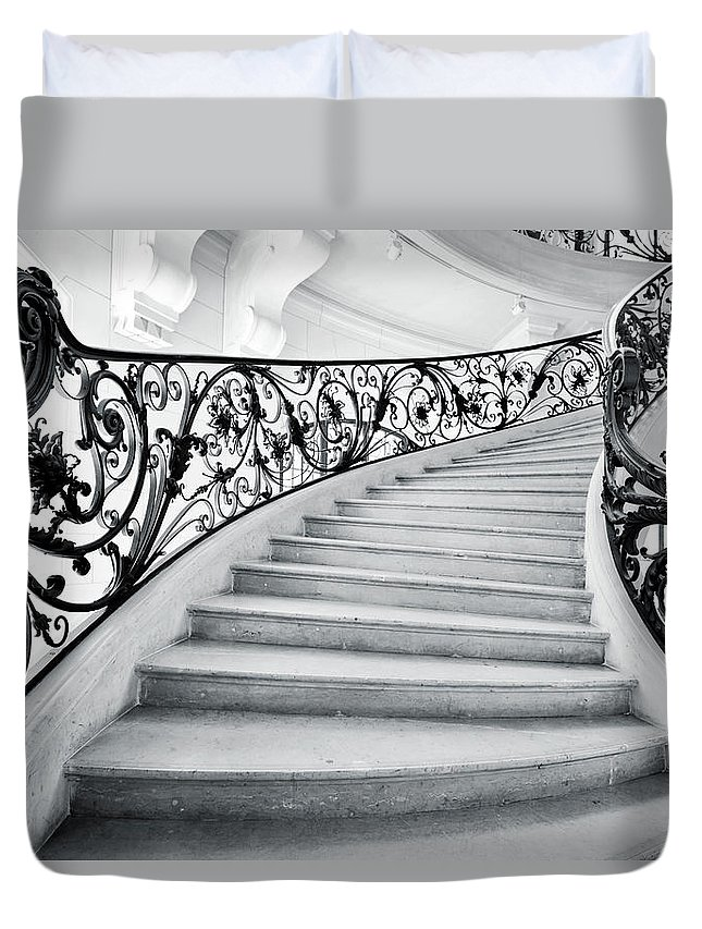 Steps Duvet Cover featuring the photograph Staircase In Paris by Nikada