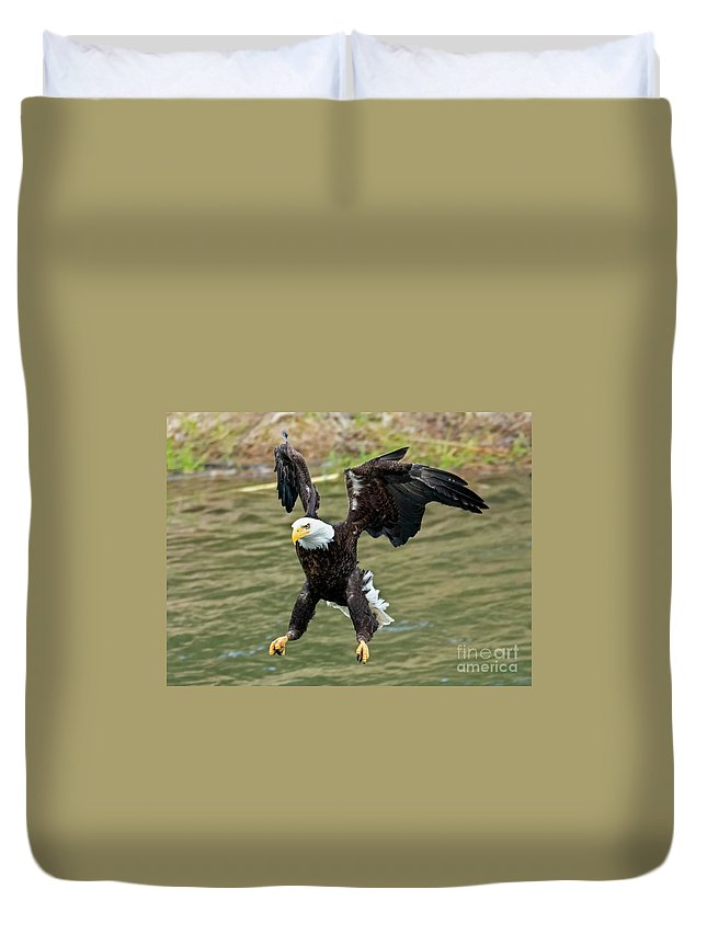 Eagle Duvet Cover featuring the photograph Gear Down by Mike Dawson
