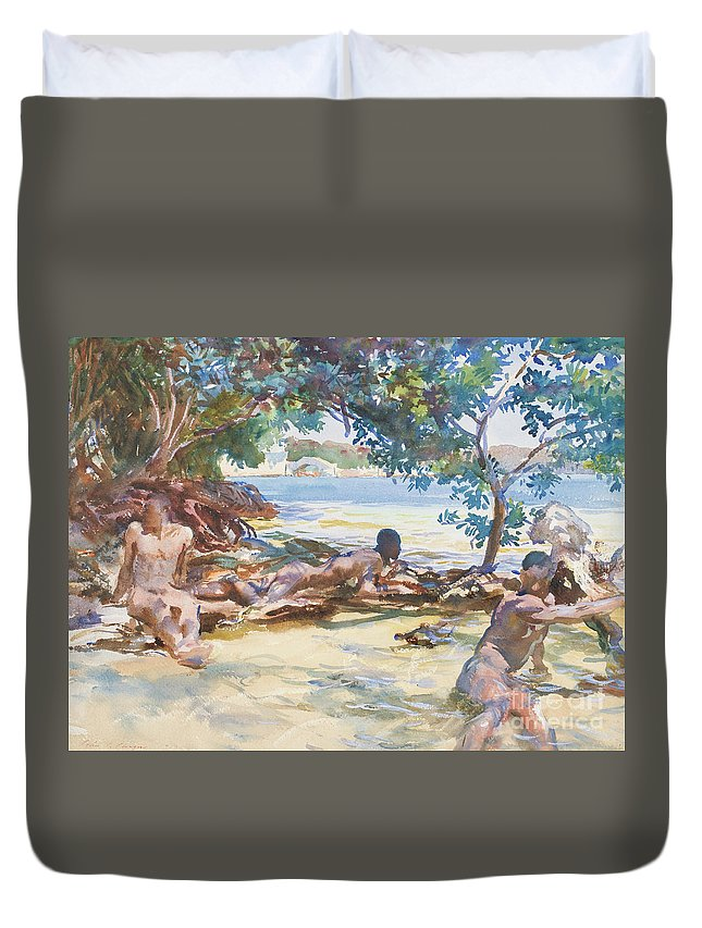 Nudes Duvet Cover featuring the painting The Bathers by John Singer Sargent