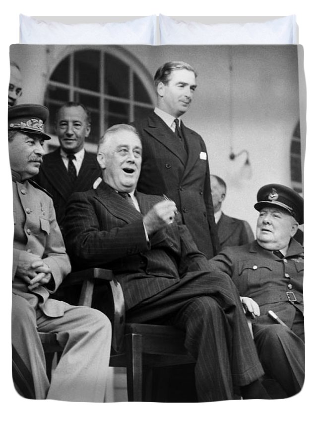 Fdr Duvet Cover featuring the photograph The Big Three - Ww2 - Tehran Conference 1943 by War Is Hell Store