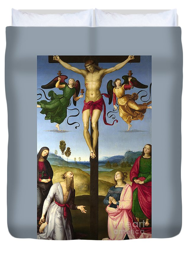 Christian Duvet Cover featuring the painting The Crucified Christ With The Virgin Mary, Saints And Angels The Mond Crucifixion 1 by Raphael