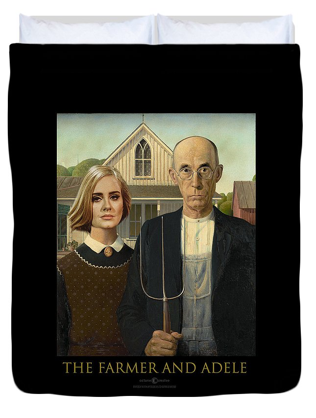 Farmer Duvet Cover featuring the digital art The Farmer And Adele by Tim Nyberg
