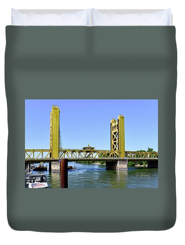 Old Town Sacramento Duvet Cover featuring the photograph The Tower Bridge by Jim Thompson