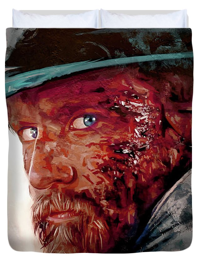 Cowboy Duvet Cover featuring the painting The Wounded Cowboy by Joseph Oland