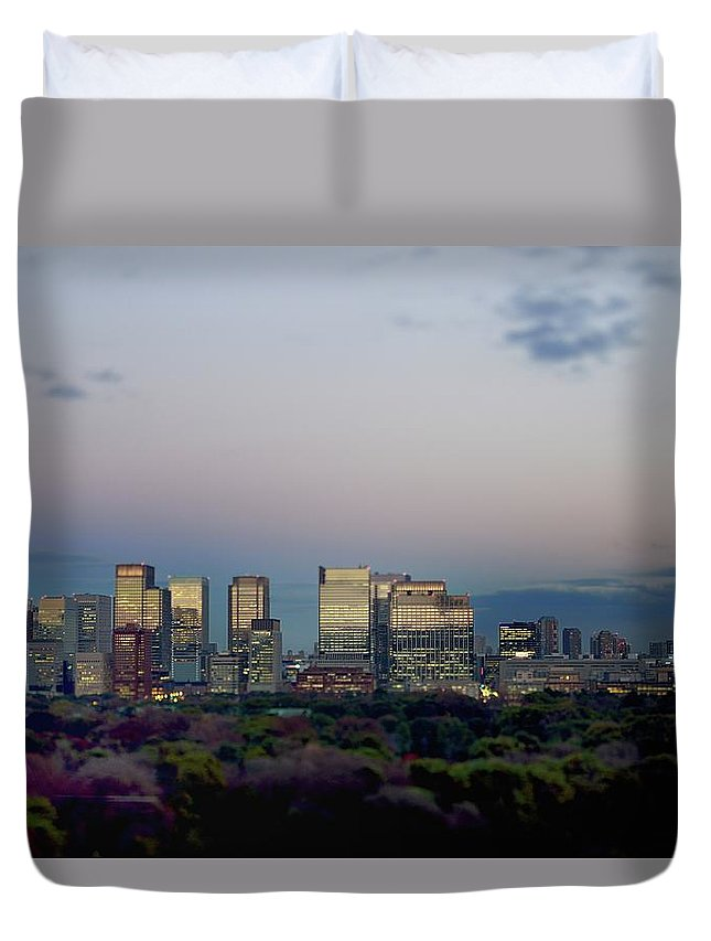 Financial District Duvet Cover featuring the photograph Tokyo Marunouchi by Vladimir Zakharov
