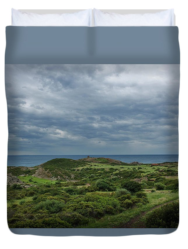 Scenics Duvet Cover featuring the photograph Torre Argentina Promontory by Maremagnum