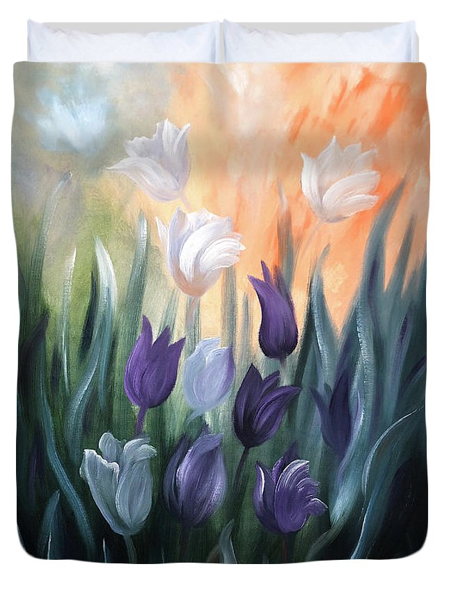 Tulip Duvet Cover featuring the painting Tulips by Gina De Gorna