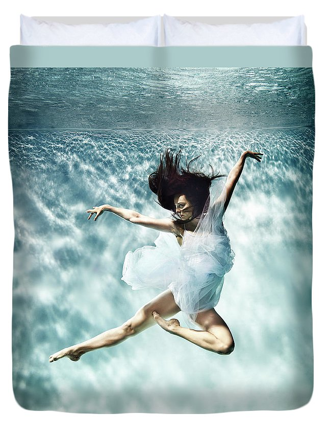 Ballet Dancer Duvet Cover featuring the photograph Underwater Ballet by Henrik Sorensen