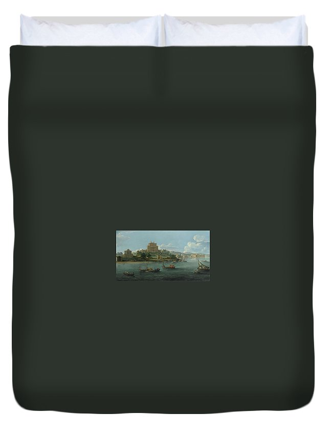 Paolo Anesi View Of The Villa Costaguti And Villa Pamphilj Between Anzio And Nettuno Duvet Cover featuring the painting View Of The Villa Costaguti by MotionAge Designs