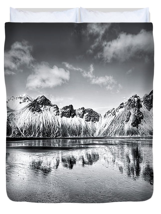 Vestrahorn Duvet Cover featuring the photograph Where The Mountains Meet The Sky by Evelina Kremsdorf