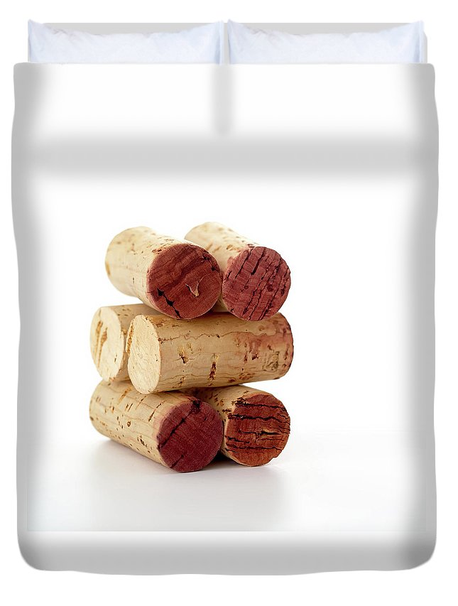 White Background Duvet Cover featuring the photograph Wine Corks Serie Of 28 Images by Luso