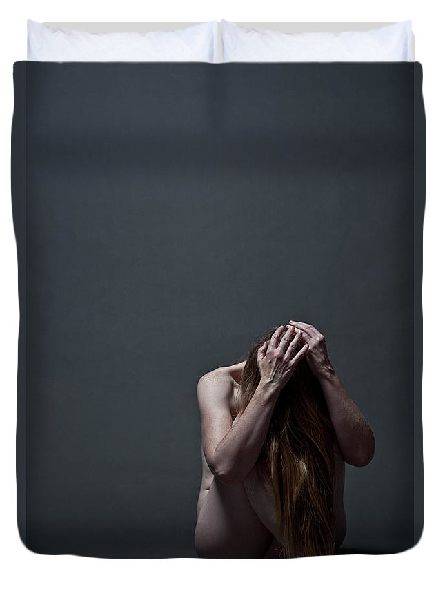 People Duvet Cover featuring the photograph Woman Crouched On Floor by Claudia Burlotti