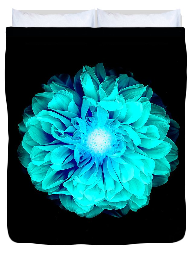 Black Color Duvet Cover featuring the photograph X-ray Like Image Of A Flower by Chris Parsons