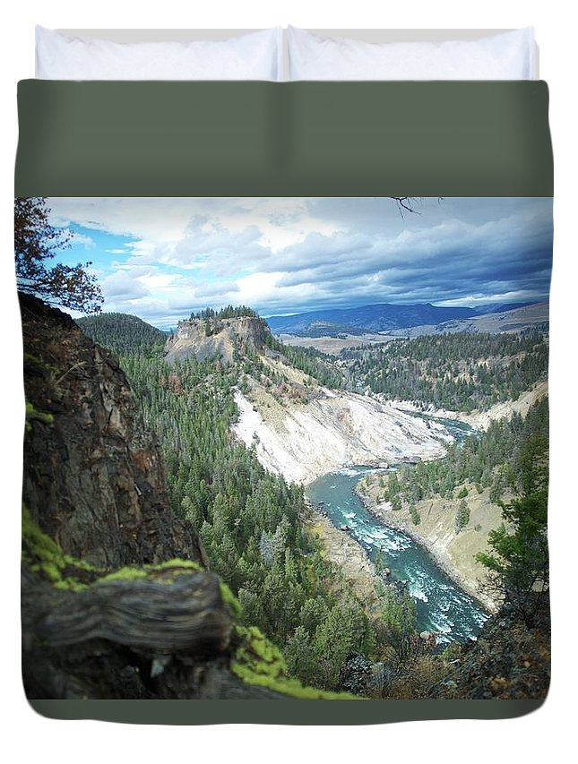 Scenics Duvet Cover featuring the photograph Yellowstone River by Dominik Eckelt