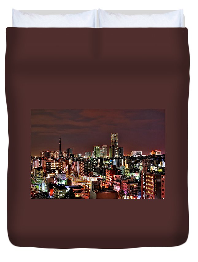 Tranquility Duvet Cover featuring the photograph Yokohama Nightscape by Copyright Artem Vorobiev
