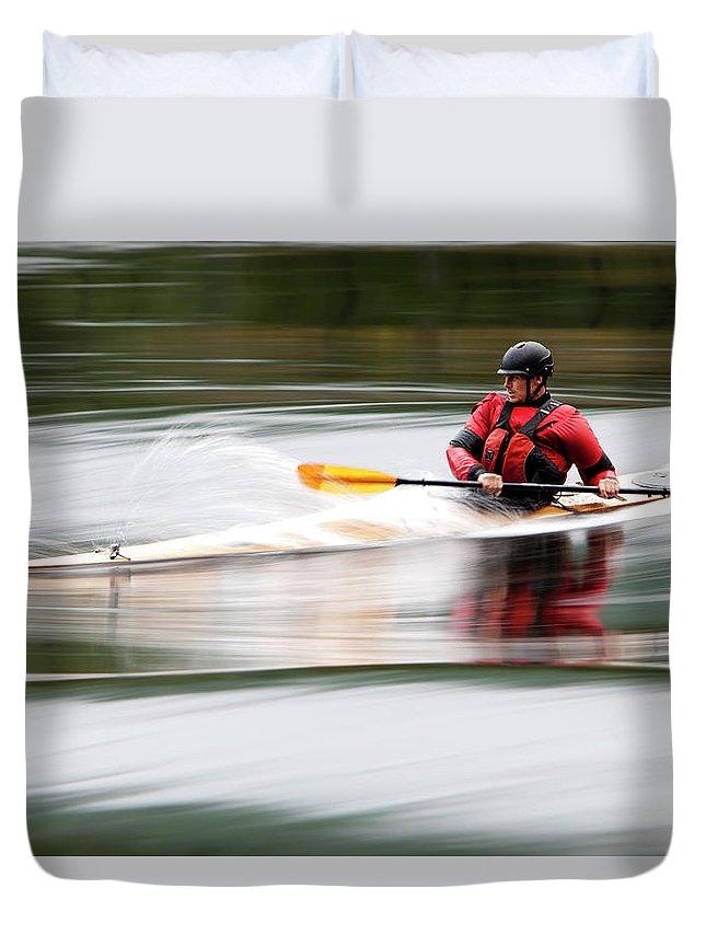 Sports Helmet Duvet Cover featuring the photograph Cedar Strip Kayak by Steve Glass