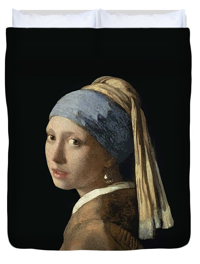 Johannes Vermeer Duvet Cover featuring the painting Girl With A Pearl Earring by Johannes Vermeer