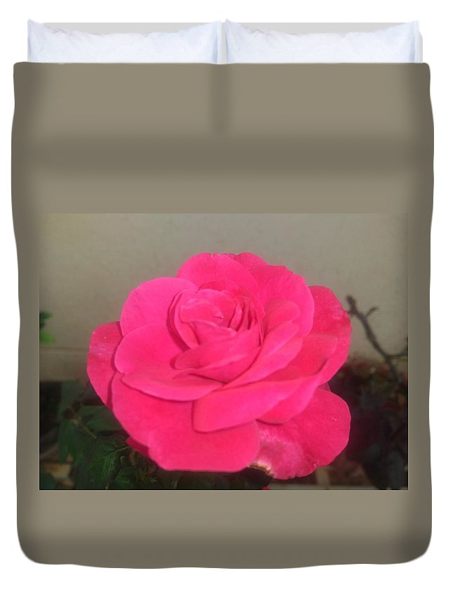 Duvet Cover featuring the photograph Pink Rose by Nimu Bajaj and Seema Devjani