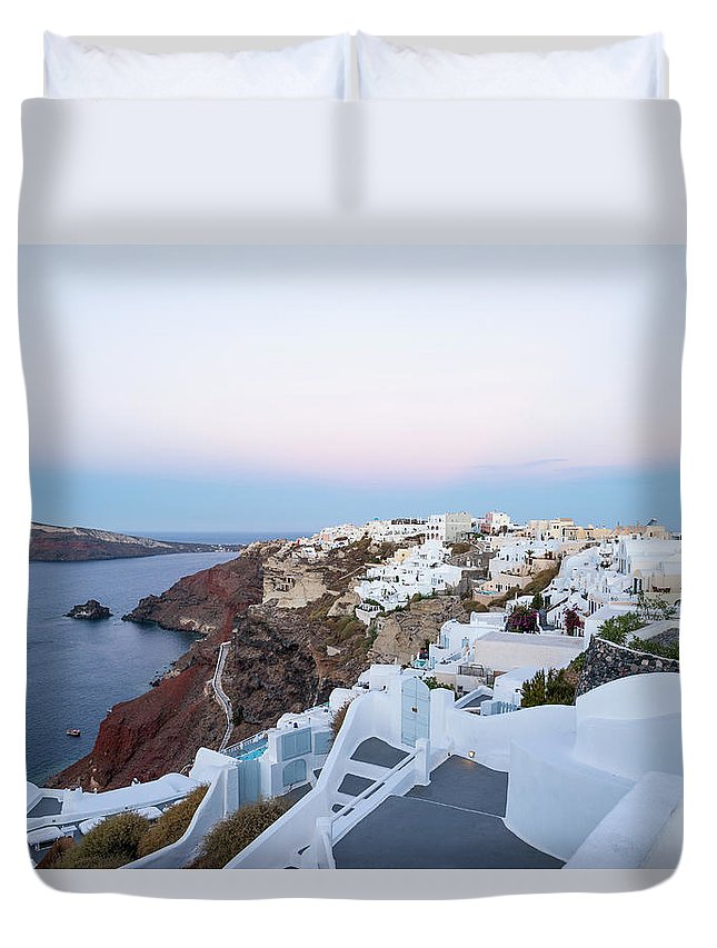 Tranquility Duvet Cover featuring the photograph Santorini Greece by Neil Emmerson