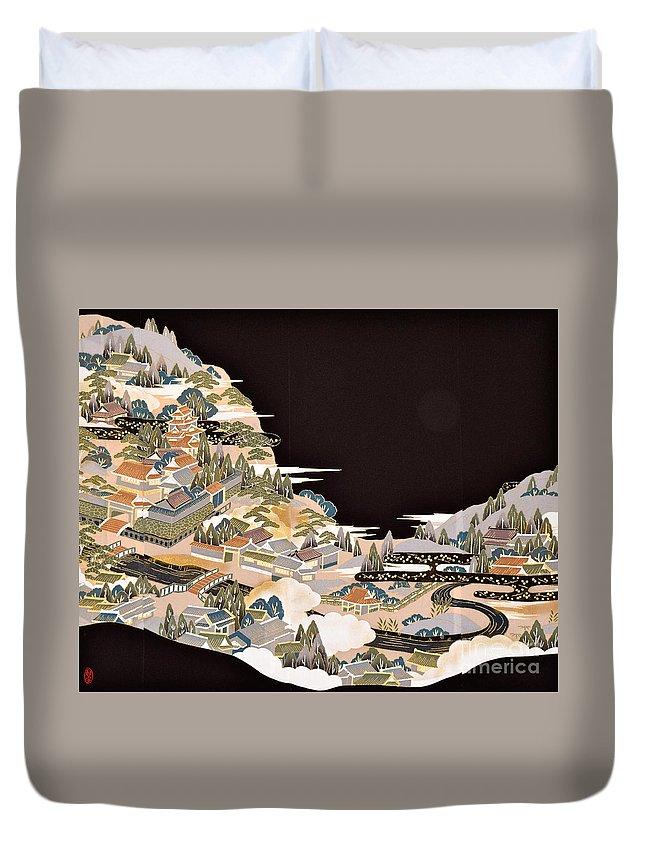 Duvet Cover featuring the digital art Spirit of Japan T72 by Miho Kanamori