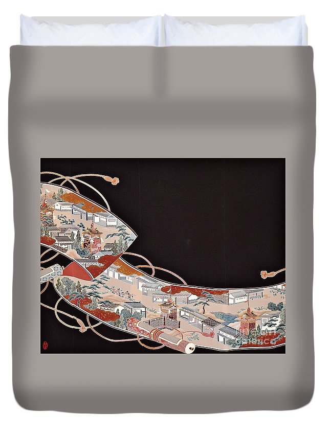 Duvet Cover featuring the digital art Spirit of Japan T71 by Miho Kanamori